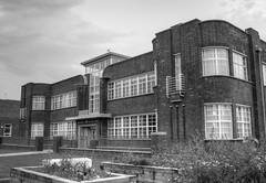 Widnes health centre 03 HD sep 16 (Shaun the grime lover) Tags: widnes halton cheshire lancashire health centre art deco architecture hdr building doorway monochrome window garden