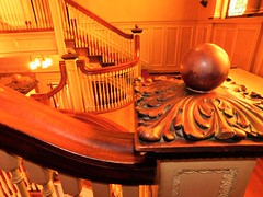A DIFFERENT VIEW OF THE STAIRS (Visual Images1) Tags: robersonmansion stairs bannister wood carving
