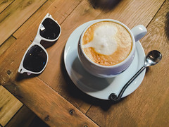 Coffee Time (Alex Zhu | Photography) Tags: carmelbythesea california unitedstates coffee sunglasses table morning cup style hipster background phone white vintage drink wood wooden view top cafe hot espresso above retro latte fashion dark cappuccino closeup