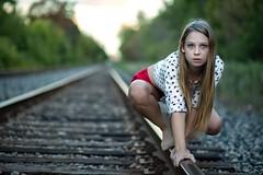 (rebekkaweigand) Tags: crawl creep nature outdoors blurredbackground photography tracks trains look stare girl woman one creepy pose eyes blonde canada toronto model