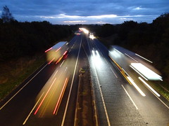 Morning light trails (stevenbrandist) Tags: a46 commute commuting road truck light motion trails leicestershire