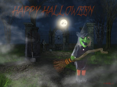 Witchy Poo 2016 (Kathy_9) Tags: pspx9 halloween witch composite graveyard moon bats happyhalloween spooky fog broomstick trickortreat kathy9 hss