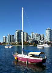 Serene scene on False Creek (Ruth and Dave) Tags: falsecreek vancouver seawall yahct autumn purple moored inlet city