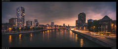 Sunset along the Meuse (Falcdragon) Tags: sonynex5 16mm panorama cityscape sunset liege belgium city lige river meuse longexposure demaas evening night dusk lastlight urban light reflection
