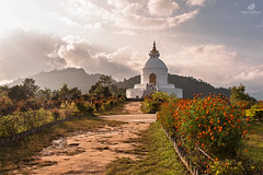 Wise Souls Speak Loudly In Silence (MANUELup) Tags: autumn sky flowers city sunset sun sunlight cloudy sunshine culture white peaceful sundown mountain silence cloud buddhism pagoda buddha relaxation joy pure annapurna architecture nepal peace pokhara soul world pureland