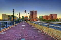 Hartford skyline & Founders Bridge (cmfgu) Tags: hartford connecticut ct hartfordcounty foundersbridge connecticutriver sunset dusk twilight color sky hdr highdynamicrange