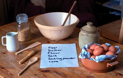 getting ready to cook with Nanan - The Recipe (slightly everything) Tags: uk england cooking kitchen paper recipe table creativity baking wooden europe bowl jar eggs jug katehiscock