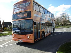 Stagecoach North West Dennis Trident Alexander ALX400 18362 MX55 KPP 'Morecambe & Wise' turning on to the A586 heading for Lancaster on a 42 (nsf323) Tags: morecambewise dennistrident poultonlefylde route42 18362 alx400 stagecoachnorthwest mx55kpp greatecclestone