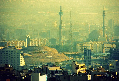 Mosala mosque in Tehran skyline