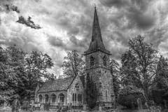 Lower Slaughter Church (Phil Beauchamp) Tags: blackandwhite bw church clouds hdri lowerslaughter