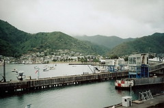 . (Ana V. Ortiz) Tags: morning newzealand cold film ferry analog fujifilm analogue aotearoa picton ferryterminal cookstrait bluebridgeferry canonprimatwins