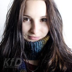 SELF (002) (KFD photography) Tags: blue portrait selfportrait wool me scarf self myself katie brunette browneyes yourstruly homemadescarf katiefoulkes kfdphotography