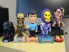 My growing army of Bobbleheads (stauf7) Tags: startrek punk spock terminator heman misfits skeletor bobbleheads jerryonly t600