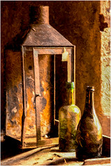 Calke Abbey relics (A.I.D.A.N.) Tags: lamp bottle bottles window windowlight old rusty weathered dusty distressed metal edwardhopper topaz daylight canon canon5dmarkii canon5dmkii canoneos5dmarkii 5d mkii markii colour orangle border photoborder broken battered dirty peelingpaint paintwork brushstrokes texture rough textured calke abbey nationaltrust stilllife