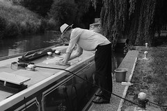 washing thhe boat river Stort at Harlow Essex (strawberrymouseman) Tags: wife girlfriend wives watersports waterways canal river barges boats blackandwhite water strawberrymouseman stevehenson monochrome