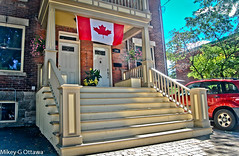 Another Soft-Spoken Patriot -  Ottawa 08 16 (Mikey G Ottawa) Tags: mikeygottawa canada ontario ottawa street city house home flag canadianflag canadianidentity identity canadian