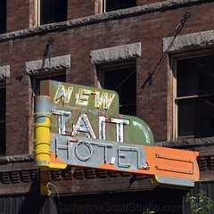 New Tait Hotel (Patinagal) Tags: signage sign hotle brick typography lettering relic decay peelingpaint