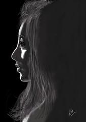 Portrait of a girl.. (RamaWarrier) Tags: ipad procreate digitalpainting portrait girl blackwhite monochrome sadface profile face
