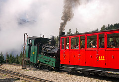 Swiss (BRB) Brienz-Rothorn Bahn 800mm gauge Class H 2/3 rack loco No. 2 arrives at half-way station Planalp on 11 August 2016 (A Scotson) Tags: rackandpinion rackrailway cograilway slm brienz rothorn brienzrothornbahn brb swiss steam 800mmgauge narrowgauge mountains chalet locomotive train