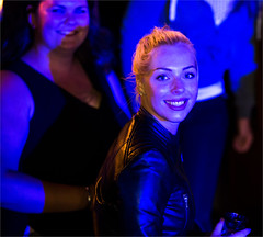 Going out in The Hague (zilverbat.) Tags: mensen streetphotography girl straatfotografie streetlife straatfotograaf streetshot people portrait portret image peopleinthecity photography zilverbat thehague denhaag dutch avondfotografie canon smile bierkade festival candidphotography candid leathergirl party expressions expressie face nacht night blue blond blonde