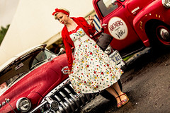 A Vintage Red (darren.cowley (off and on to mid Oct)) Tags: vintage red lady classic buick pontiac pickuptruck nottingham 50s portrait dress style flickrfriday frozenintime darrencowley