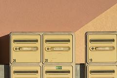Six Postboxes (Jan van der Wolf) Tags: map158442v brievenbus postbox six yellow herhaling repetition shadow schaduw wall muur diagonaal diagonal 19 20 26