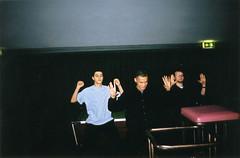 Dance like MJ (Gary Kinsman) Tags: hampsteadstudentcampus hampstead childshill nw3 kidderporeavenue london 2001 film kingscollegelondon kcl hallsofresidence studentcampus students university fun youth young candid unposed flash hampsteadcampusbar bar