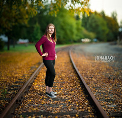 Senior Bokeh (Jon and Rach | Photography) Tags: jon rach photography bokeh dof shallowdepthoffield portrait senior seniorpicture high school tracks train leaves fall trees downtown arlingtonwa pnw pacificnorthwest outdoor strobist strobing flashpoint rovelight 600b brenizer method sony sonyalpha sonyalpha99 alpha alphamount alpha99 a99 a99v slta99v sonya99 fullframe zeiss zeissglass carlzeiss cz 135mm cz135mm sal13518z sal135f18z sonnar13518za sonycz135mmf18 t prime 135 manual focus off bokehrama bokehpanorama