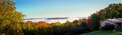 Sunrise and fog over the valley (joshsikora) Tags: panorama otsegocountynewyork otsegocountyny otsegocounty the607 rollinghills valley fog sunrise catskillmountians catskills oneontanewyork oneontany oneonta upstatenewyork upstateny upstate fall autumn