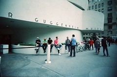 Guggenheim (Jim Davies) Tags: photography analogue film veebotique 35mm vivitar ultrawideandslim uws plastic toycamera kodak ektachrome 160t 160asa slidefilm crossprocessed xpro e6 c41 expired hardexpired newyorkcity nyc newyork manhattan bigapple 5thavenue museummile