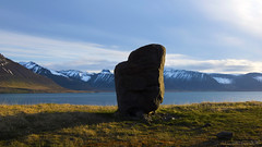 a sign post in the Westfjords that rocks (lunaryuna) Tags: iceland westiceland westfjords landscape panoramicviews fjord mountainrange snowcappedmountains dolmen signpost vista spring season seasonalchange seascape coast lunaryuna
