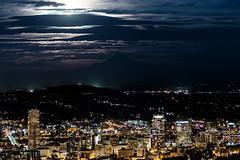 By the Light of the Harvest Moon (Randy Kashka) Tags: portland skyline harvestmoon moon oregon downtown mount hood light moonlight mounthood pnw