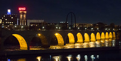 Stone Arch Bridge (floating_stump) Tags: minneapolis minnesota lowlight improvisedtripod bridge mississippiriver