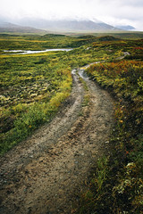 Wandering Roads (Brian Truono Photography) Tags: alaska hdr highdynamicrange tanglelake clouds dirt glacial land landscape mountains muddy nature path peaks rain river road sky snow travel tunda valley water
