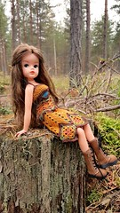 Had a walk at the forest with Sindy  (Dolliina) Tags: sindy doll crochet