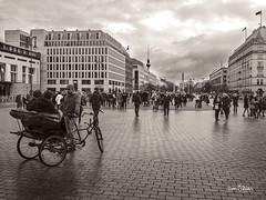 Unter Den Linden (Jon Fitton) Tags: pariserplatz berlin fernsehturm monochrome lightroom tricycle rickshaw space unterdenlinden pavement bw germany de