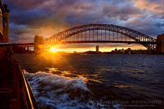 Harbour Bridge Sunset by Kaye Menner (Kaye Menner) Tags: photography harbourbridgesunset harbourbridge sunset sydneyharbourbridge glow glowing glowingsun flare sunflare harbour harbor water evening glowonwater kayemennerphotography kayemenner whitewash ferry sideviewferry railing mystique mystical mysticalsky moody moodysky sky clouds atmosphere light goldenlight kayemennersunset kayemennerlandscape black red gold yellow blue yellowblue blueyellow goldblue sydneyart sunsetart