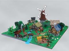 Medieval Village - Main (robbadopdop) Tags: lego landscpae village moc medieval house castle fantasy