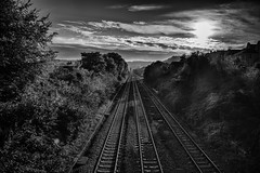 Tracks to the city of Bath (Daz Smith) Tags: dazsmith canon6d bw blackwhite blackandwhite bath city streetphotography candid canon citylife thecity urban streets uk monochrome blancoynegro mono sunrise sky clouds traintracks linear rails railway