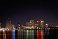 New Orleans Skyline, Algiers, LA. (Flashlight to Streetlight) Tags: mississippi river longexposure neworleans louisiana nightshot nightscape cityscape landscape nightphotography city nightsky