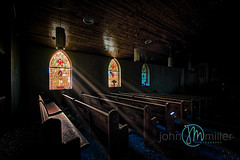 Every light brings with it a ray of hope (Dr_Fu_Manchu) Tags: abandoned abandonment church light ray rays stainedglass urbex urbanexploring urbandecay god pews architecture cathedral catholic