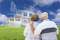 Senior Couple Faces Ghosted House Drawing, Green Grass Hill_iStock ID 000070248203 (UICmedia) Tags: architecture build construction exterior front design drawing sketch idea home house custom new property realestate building pencil ink plan rendering illustration outline diagram blueprint layout newhome newhouse houseshopping housing sky grass field imagining ghosted dream hoping dreaming wishing buyer buying seniorcouple elderly senior looking facing hugging people