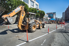 160927_1176_4thStSTS (Central Subway) Tags: 6014thst bluxomealley centralsubway muni sf sfmta sts sanfrancisco sanfranciscomunicipalrailway sanfranciscomunicipaltransportationagency tthirdline backhoe construction extension lightrail phase2 project reinforcing sewer surfacetrackwork utilitywork
