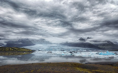 Breirln lake (marko.erman) Tags: breirln vatnajkull iceland islande lake glacier iceberg terminus ice water reflections gray blue clouds sky panorama landscape sony serenity serene calm nature outside pov wideangle uwa mountains mist misty mood