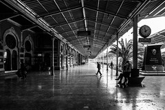13:57 / Another day at the station (zgr Grgey) Tags: 2016 20mm bw d750 nikon sirkeci voigtlnder architecture blur lines perspective reflection street trainstation istanbul