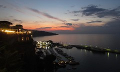 On the old terrace beside the gulf of Sorrento (primo piano) Tags: sorrento terrace mare sky sunset boats lights canon elph300 clouds neaples romantic places