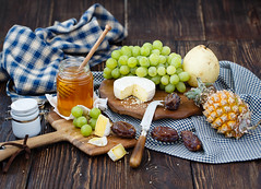 Breakfast with cheese and fruits (Julicious) Tags: wood food green fruit cheese breakfast canon bottle fig sweet board rustic knife bowl fresh cc textile honey slice pineapple pear grape dipper foodphoto foodphotography foodstyle canon5dmarkiii