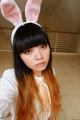 Bunny ears, Grey eyes (treasurebelle) Tags: bunny me girl indonesia ombre bunnyears indonesian deedee gyaru selca ombrehair treasurebelle piccolettabelle