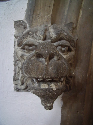 Head decoration on doorway
