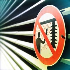 Zap! (Lawrie M) Tags: sign danger warning australia brisbane signage queensland electricity voltage uploaded:by=flickrmobile flickriosapp:filter=nofilter qcpcollection